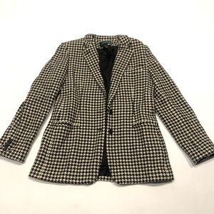 👝 Ralph Lauren wool jacked blazer houndstooth 10